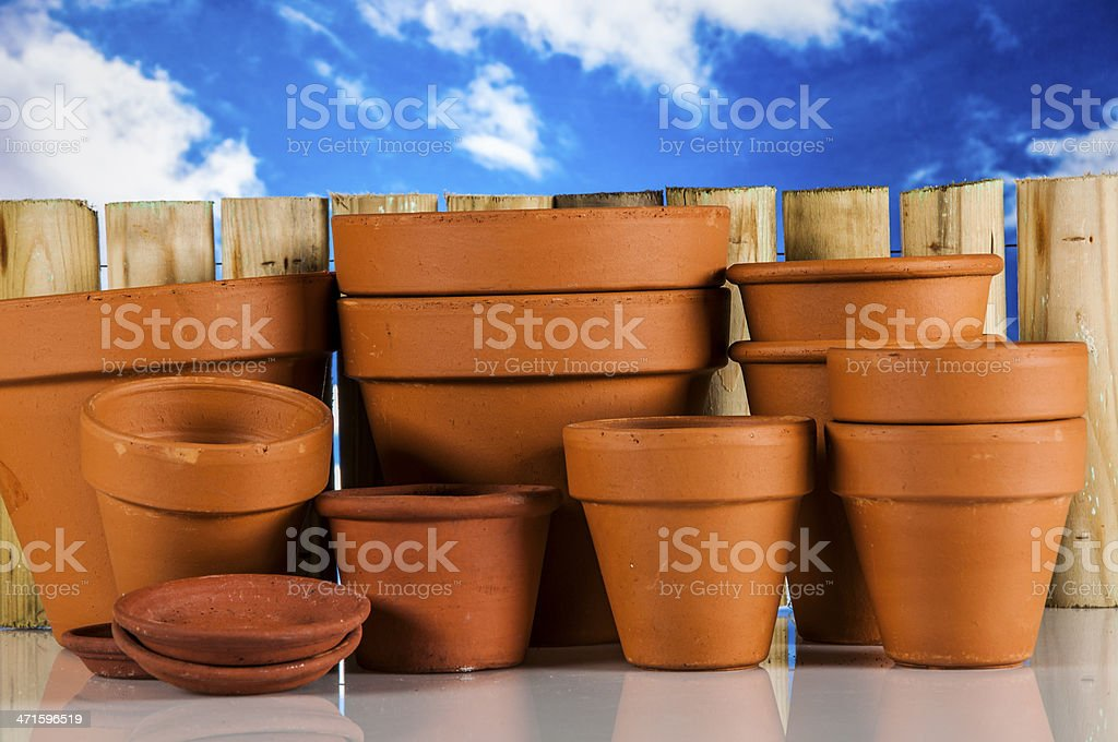 Garden stuff on bright blue background royalty-free stock photo