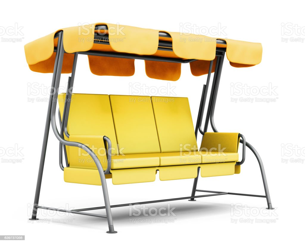 Garden swing with canopy isolated on white background. 3d render stock photo