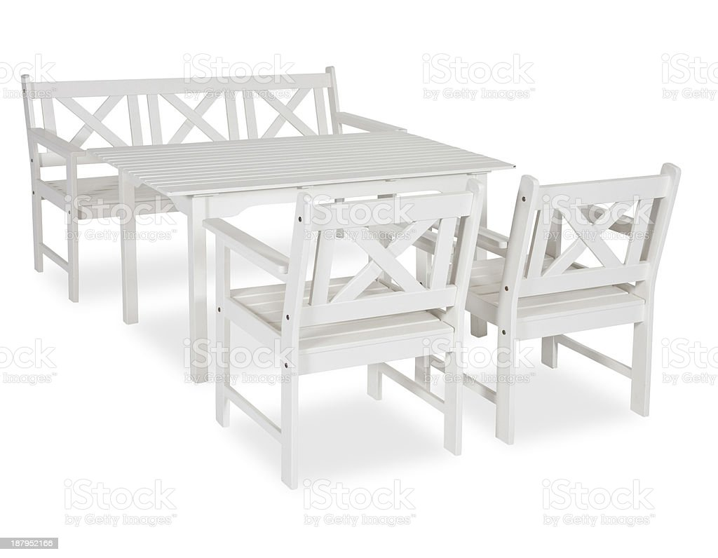 Garden table and bench royalty-free stock photo