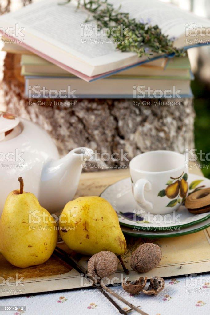 Garden tea party stock photo