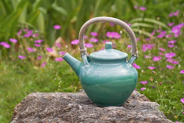 Garden Teapot stock photo