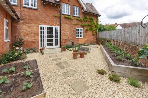 Garden terrace with french doors stock photo