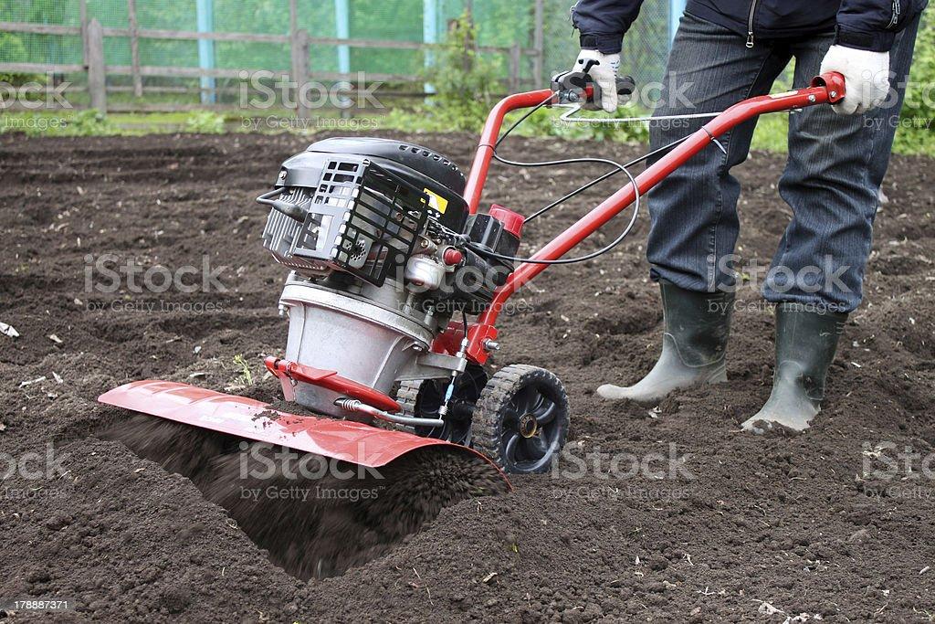 Garden tiller to work stock photo
