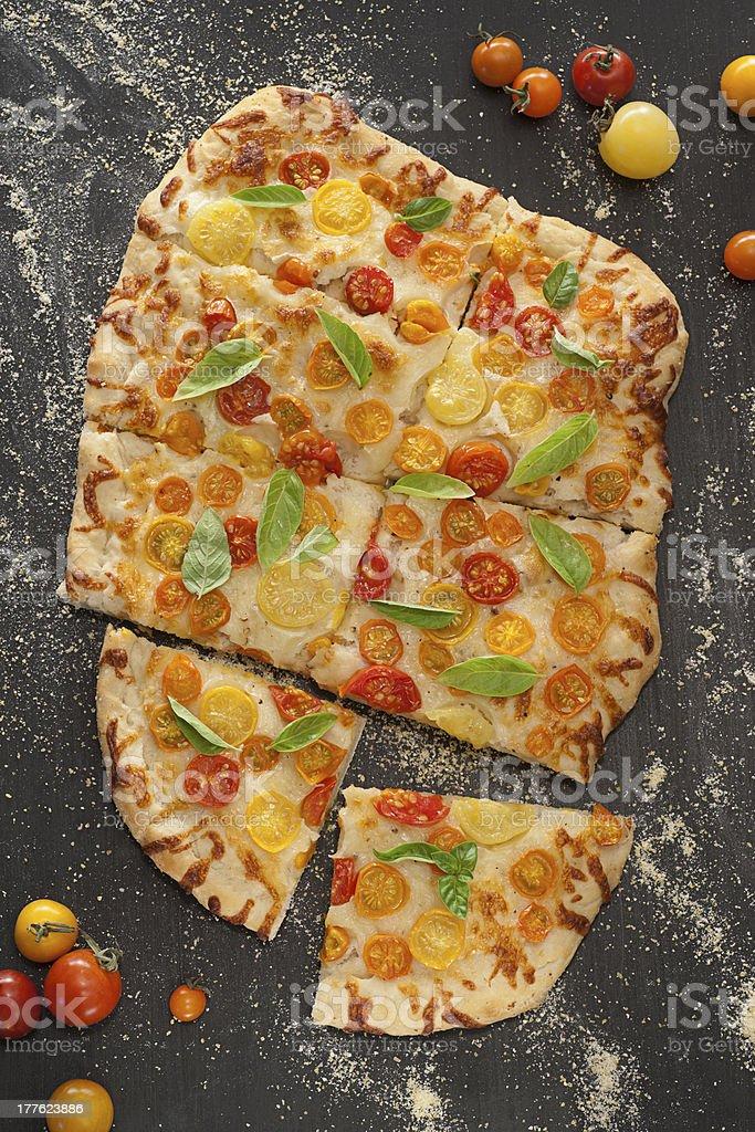 Garden Tomato Caprese Pizza royalty-free stock photo