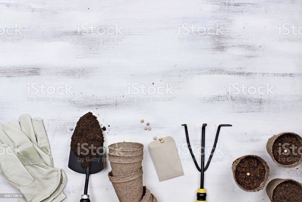 Garden Tools and Planting Seeds Background stock photo