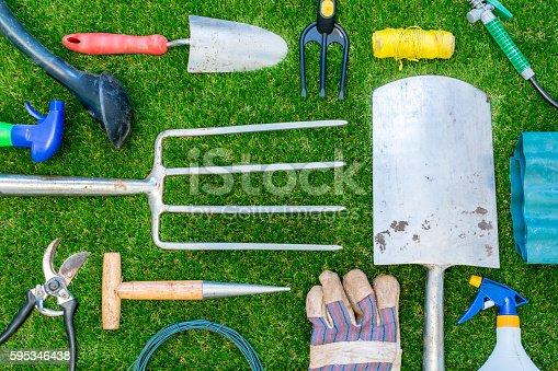 A selection of garden tools.