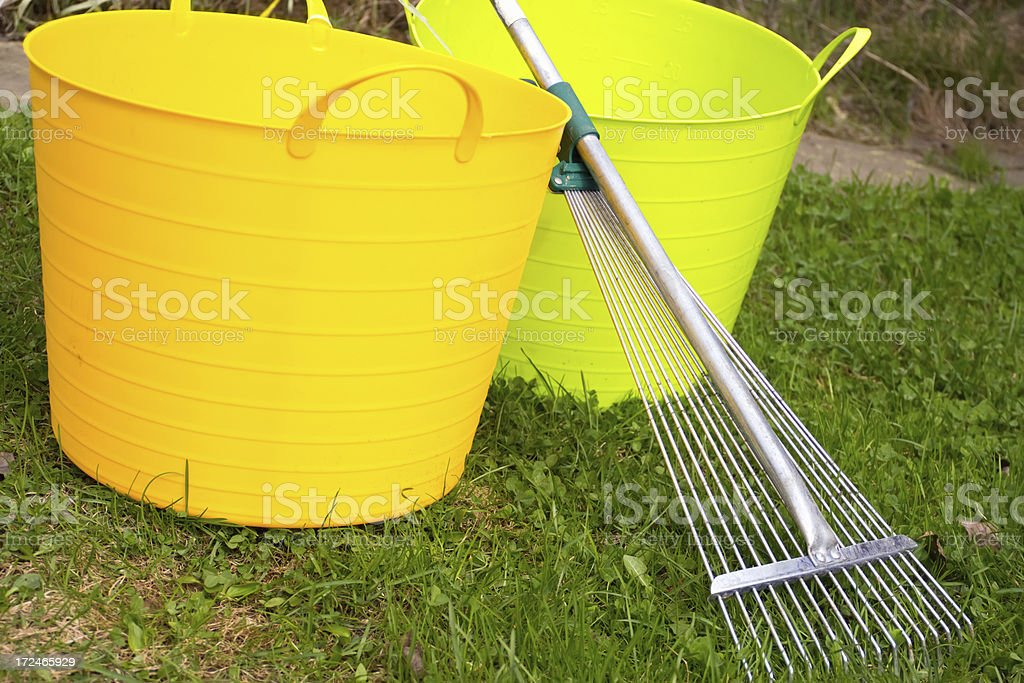 garden tools on grass royalty-free stock photo