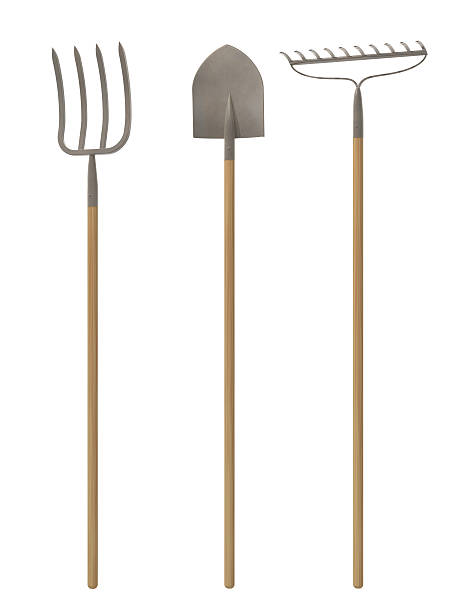 Garden Tools Pitchfork,shovel,rake in a white environment. pitchfork agricultural equipment stock pictures, royalty-free photos & images
