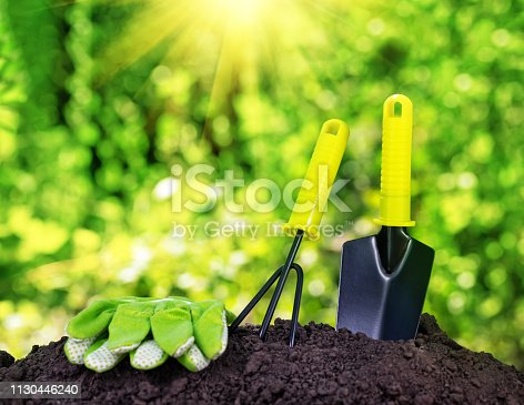 Garden tools rake trowel and gloves on a pile of soil under the bright sun. The concept of gardening and farming.