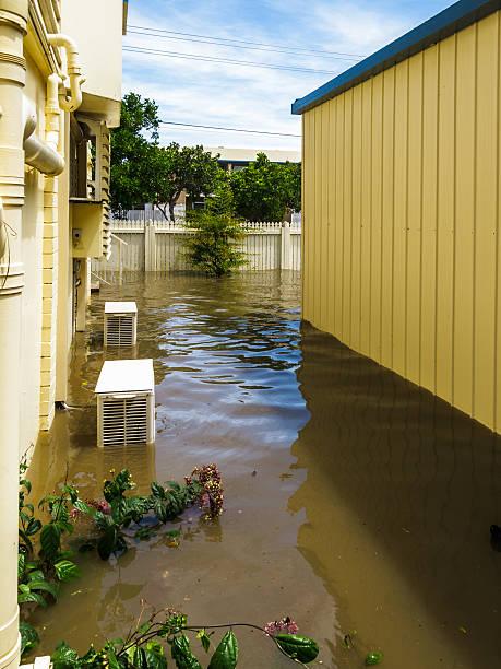 Garden under Flood Water stock photo