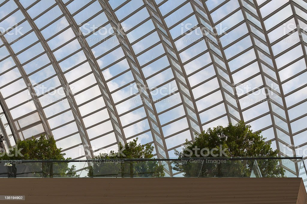 Garden under glass arched roof stock photo
