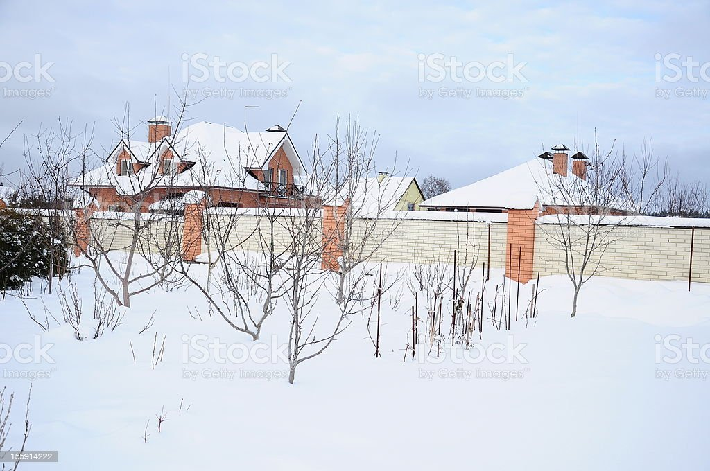 garden under snow royalty-free stock photo