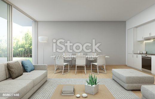istock Garden view kitchen, dining and living room at luxury house in modern design, Vacation home for big family 858627446