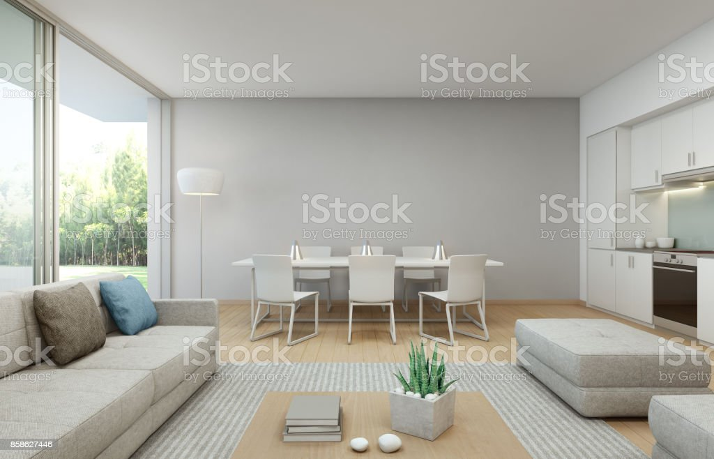Garden view kitchen, dining and living room at luxury house in modern design, Vacation home for big family stock photo