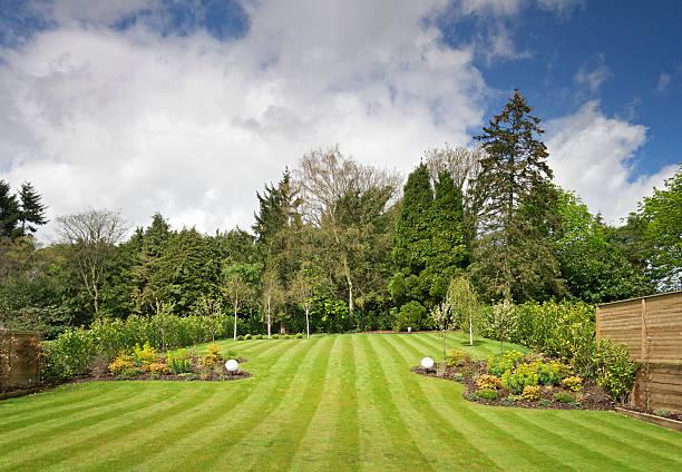 vue sur le jardin - pelouse photos et images de collection