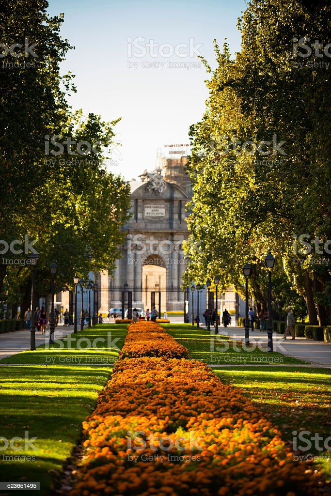 Garden Walkway in Parque del Retiro, Madrid, Spain stock photo