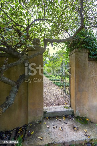 Garden Wall And Gate Stock Photo & More Pictures of Bright