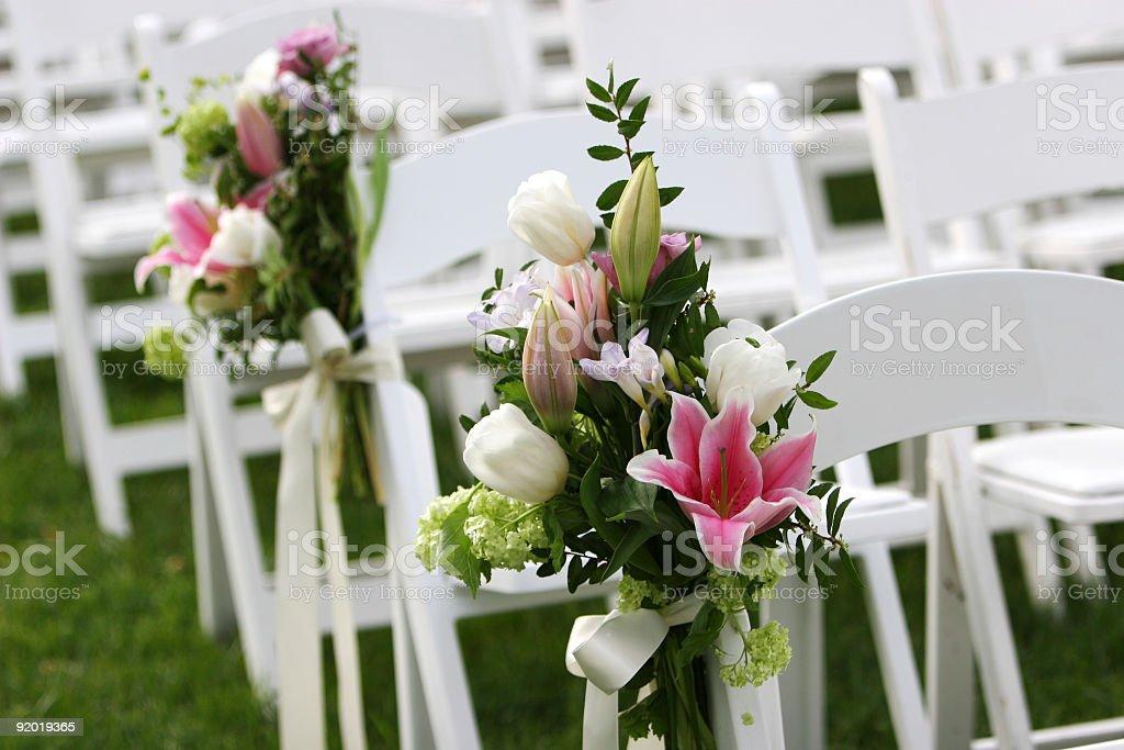 Garden Wedding Scene at Outdoor Marriage Ceremony stock photo