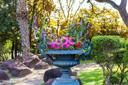 istock Garden with bronze planter urn with pink and red petunias 1056037842