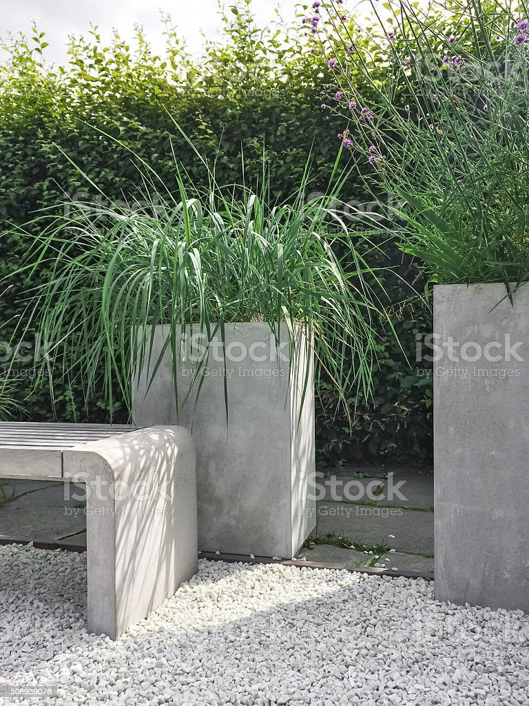 Garden With Decorative Grass Concrete And Stone Stock Photo & More ...
