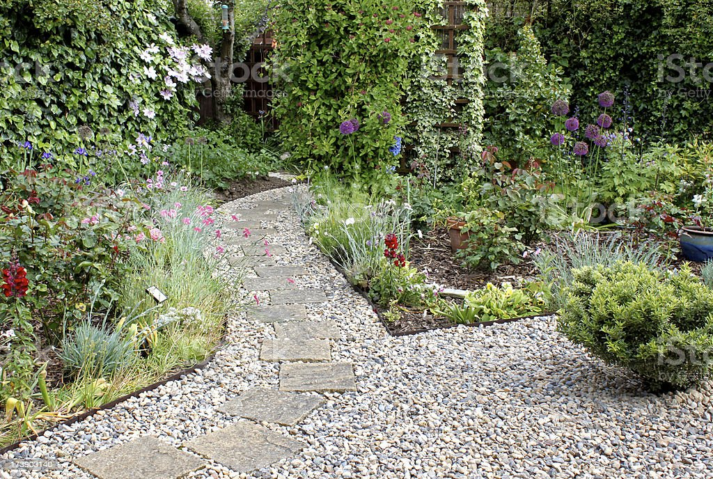 Garden with footpath stock photo