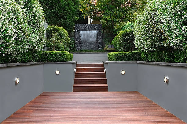Garden with lights and wooden stairs in Sydney stock photo