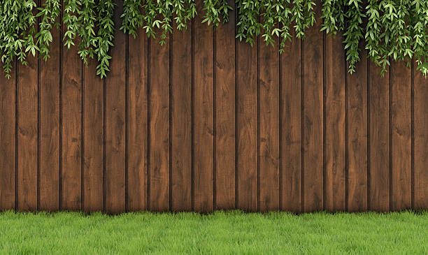 garden with old wooden fence - fence stock photos and pictures