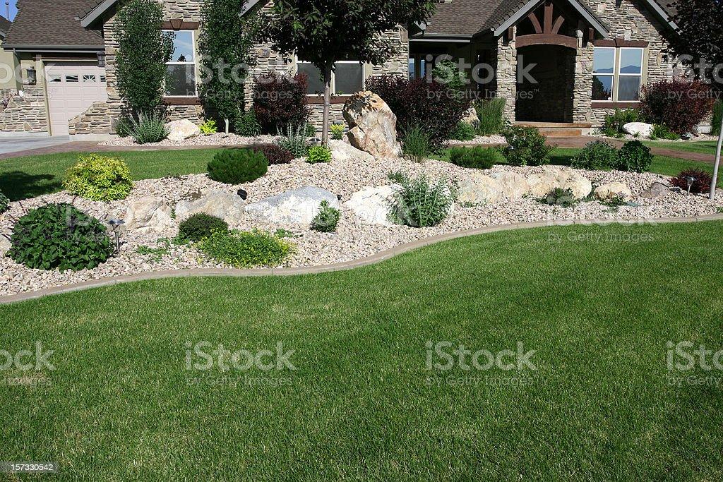 Garden with shrubs and rockery stock photo