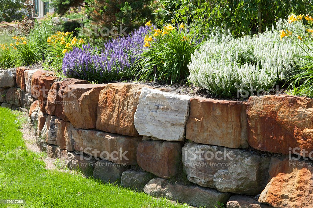 Garden with stone landscaping stock photo