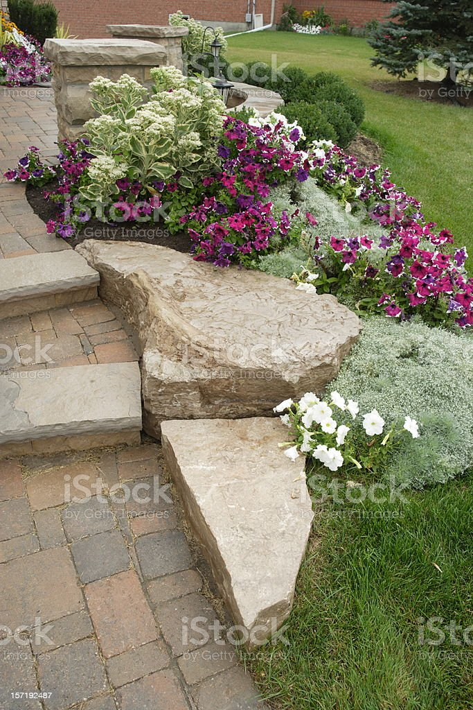 Garden with stone steps royalty-free stock photo