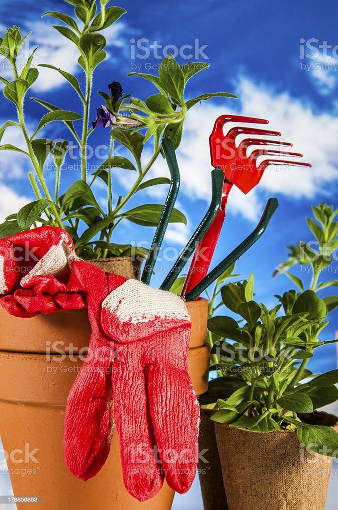 Garden work, rural decorative composition royalty-free stock photo