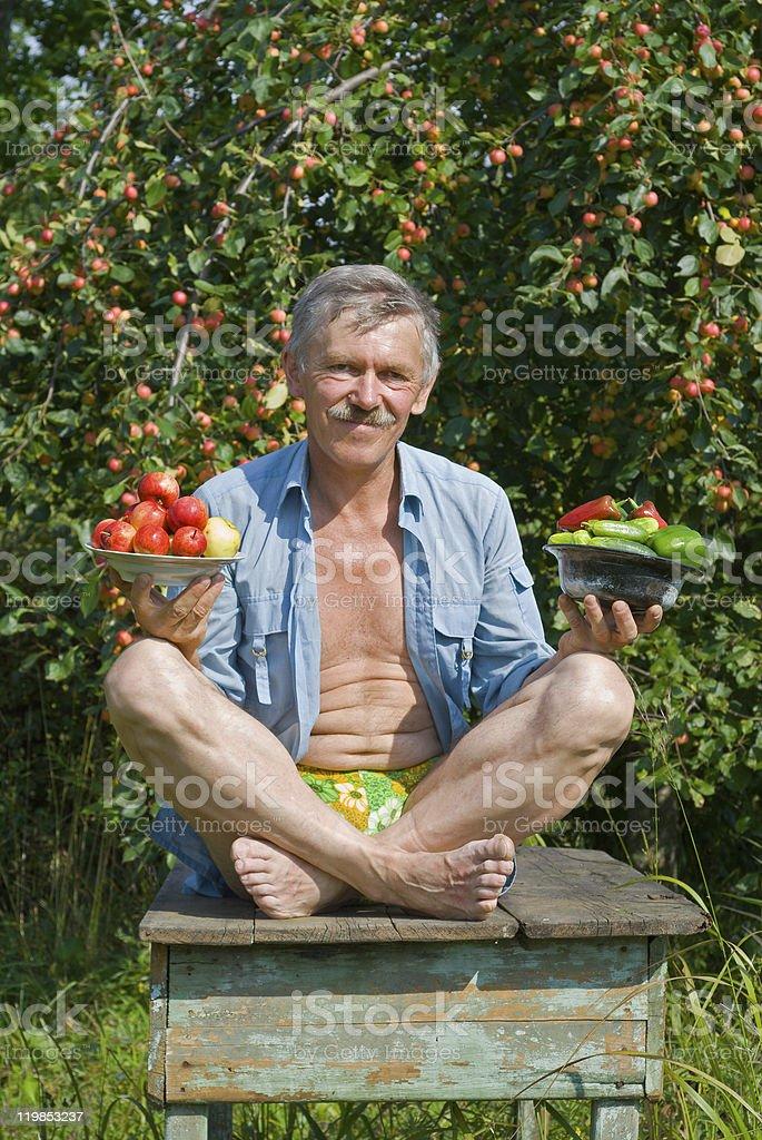 Gardener at apple-tree royalty-free stock photo