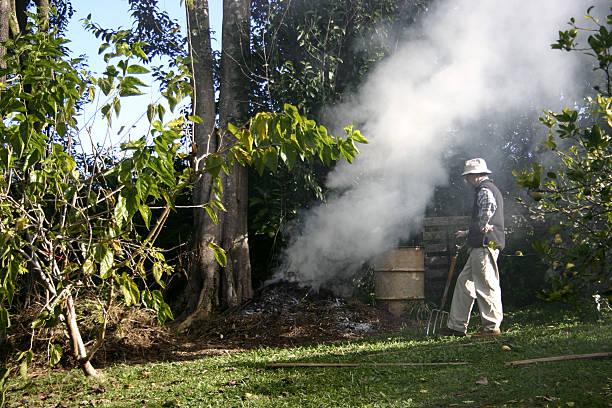 Gardener Burning Weeds and Watching Fire stock photo