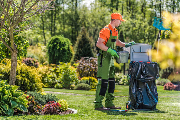 Gardener Cleans Private Yard Area After Routine Maintenance. stock photo