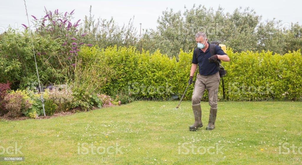 Jardinier jardinier pulvérisation de désherbant sur gazon - entretien du jardin - Photo