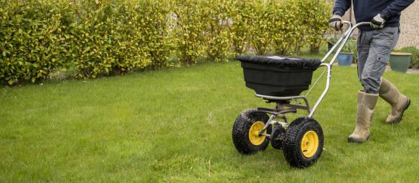 잔디를 육성 하기 위해 잔디밭 비료를 확산 하는 정원사 horticulturalist - 비료 뉴스 사진 이미지
