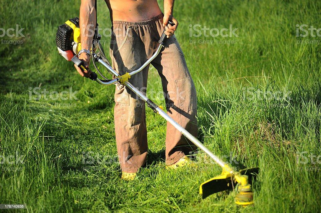 Gardener mows dem Rasen – Foto