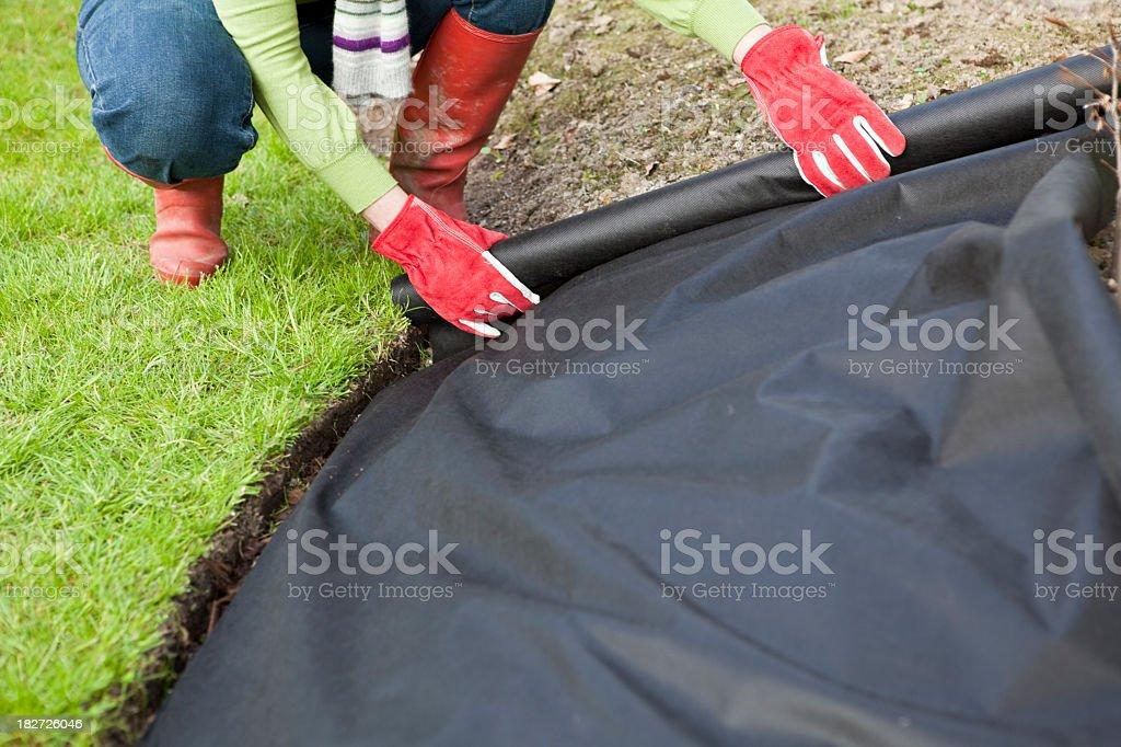 Jardineiro colocar proteção de barreira de tecido de ervas daninhas - foto de acervo