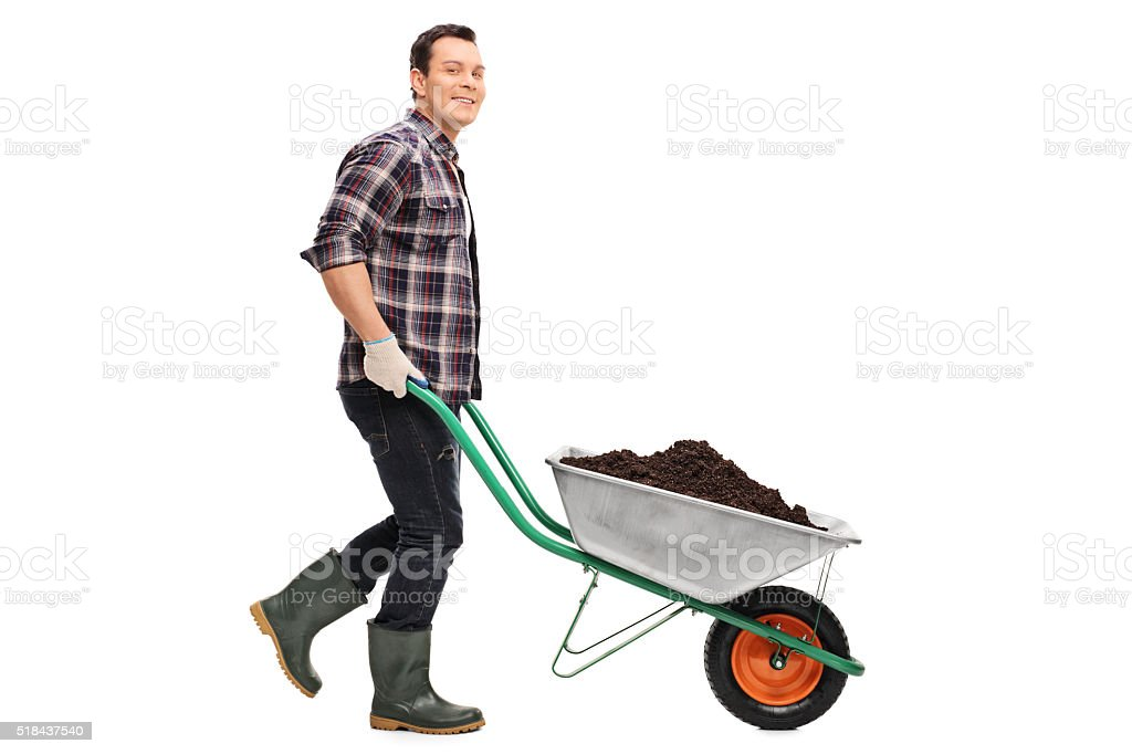 Gardener pushing a wheelbarrow full of dirt stock photo