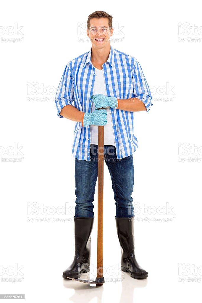 gardener standing on white background stock photo
