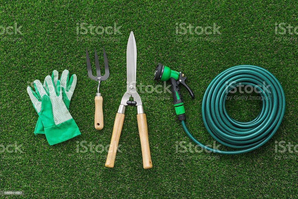Gardener tools stock photo