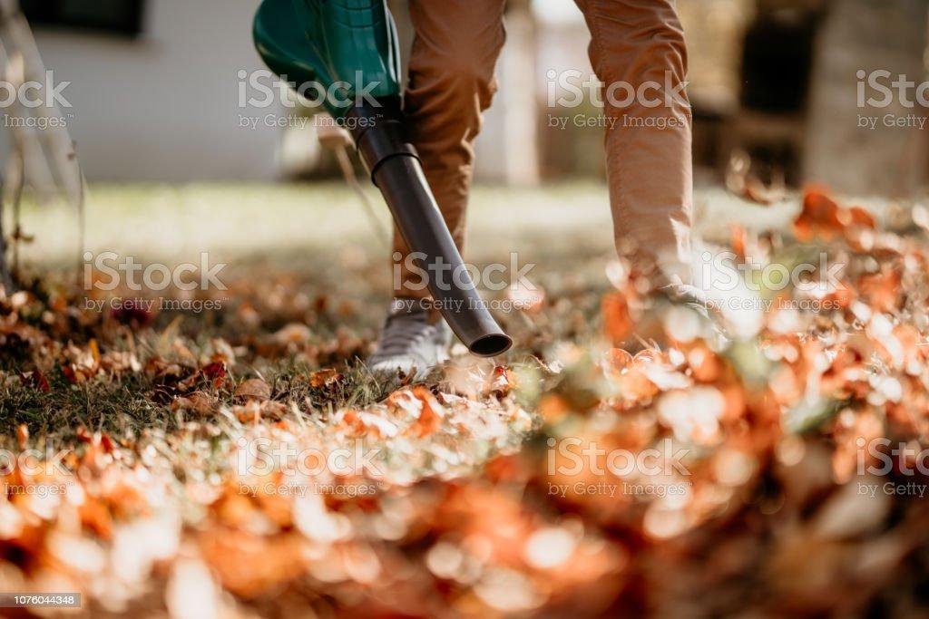 Gardener using leaf blower, vacuum and working in garden stock photo