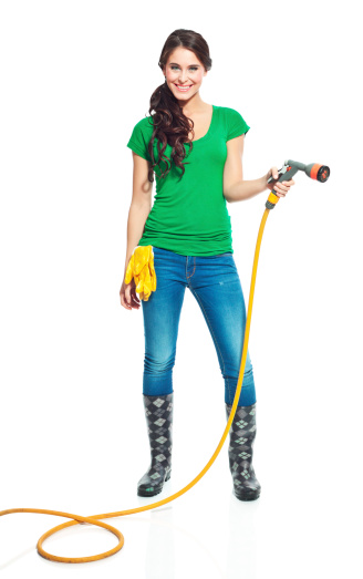Gardener With Garden Hose Stock Photo - Download Image Now