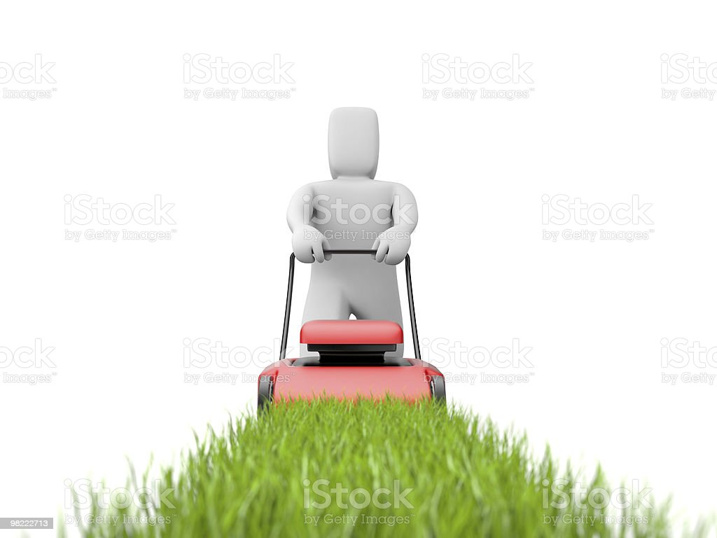 Gardener with mover royalty-free stock photo