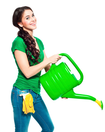 Gardener With Watering Can Stock Photo - Download Image Now