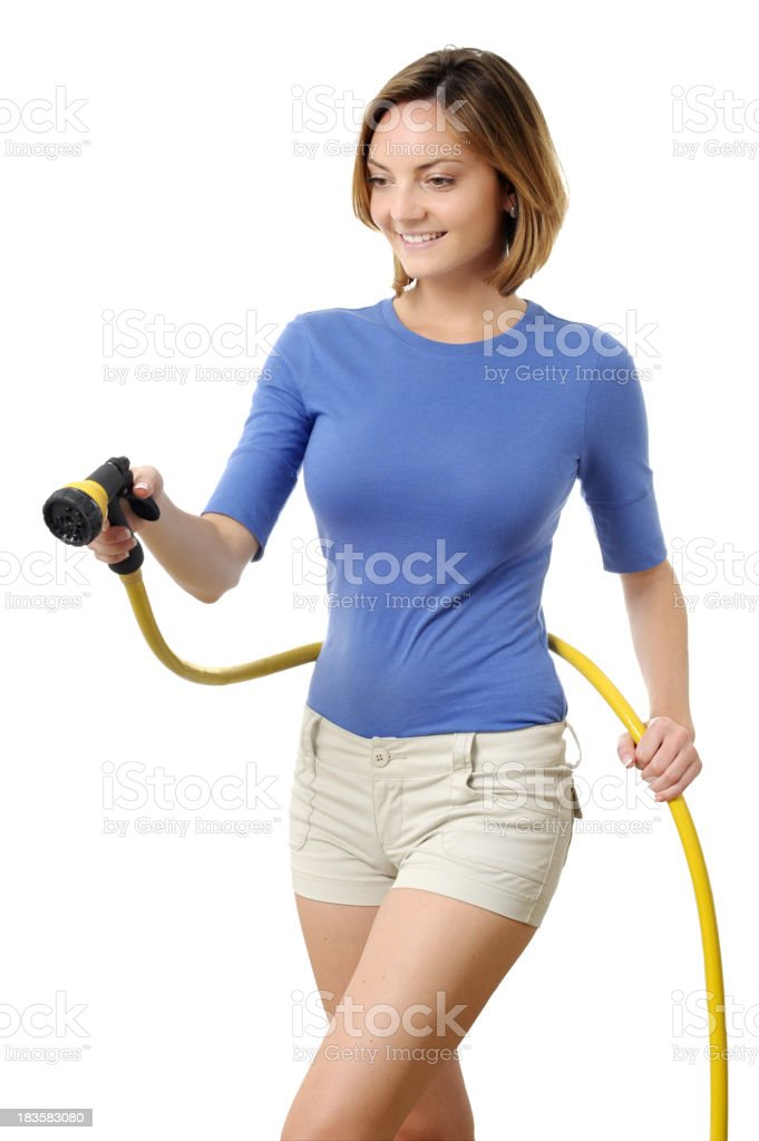Gardener Woman with Garden Hose Isolated on White Background royalty-free stock photo