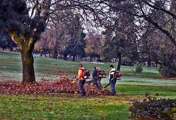 Gärtner mit Blatt Gebläse und Bräutigam den Golfplatz – Foto