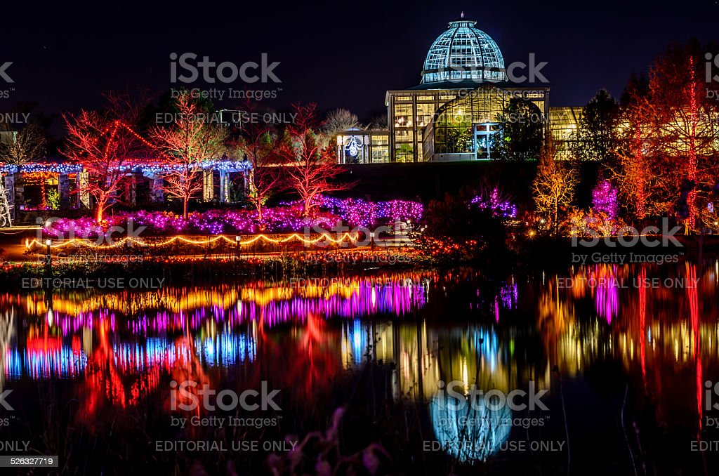 GardenFest of Lights @ Lewis Ginter Botanical Gardens stock photo