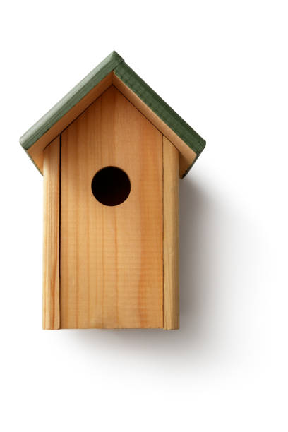 Gardening: Bird House Isolated on White Background stock photo