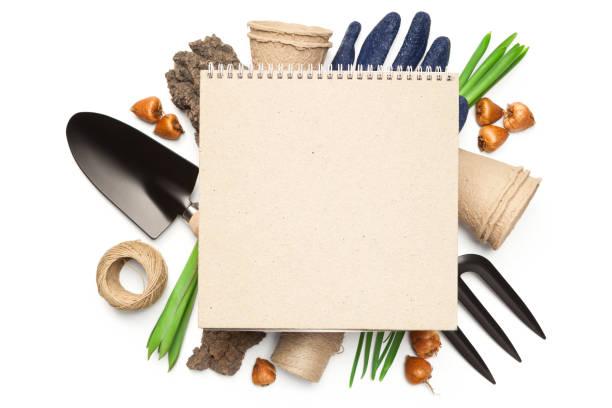 gardening concept isolated on white background - folha de caderno imagens e fotografias de stock